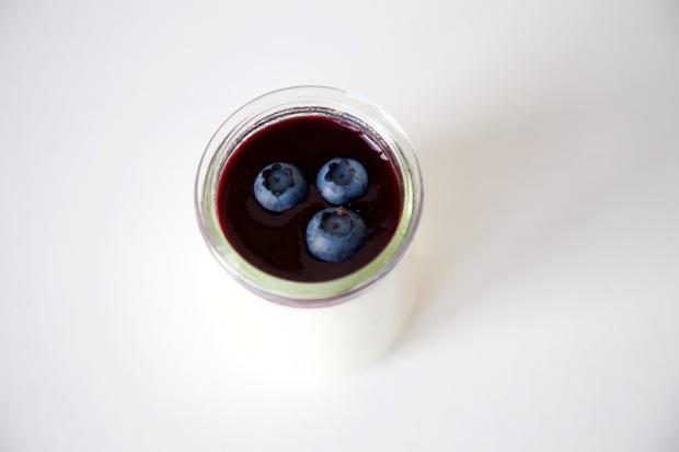 Griekse yoghurt panna cotta met blauwe bessen